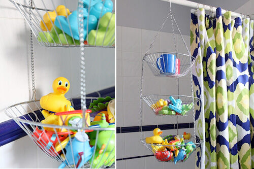 Hanging fruit basket bath toy storage solution & 15 brilliant bath toy storage ideas