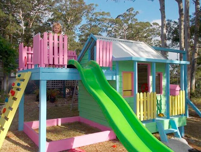 this custom candy coloured cubby was designed by dfr outdoor timber