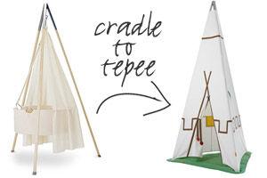 Leander cradle coverts to tepeee