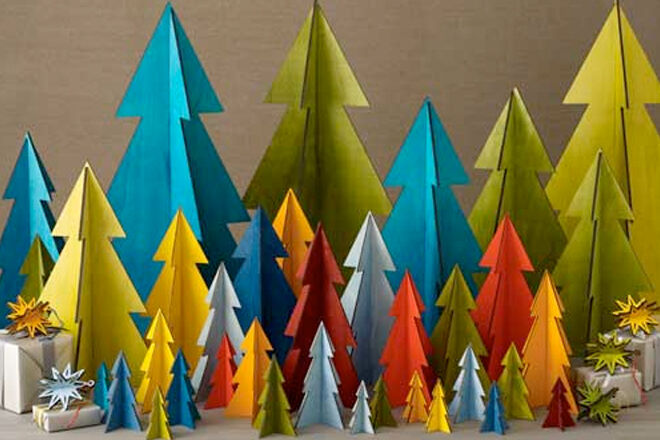 Coloured wooden Christmas trees