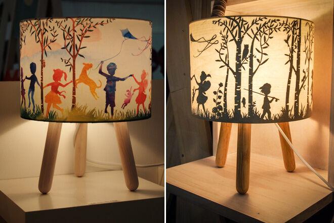 Micky & Stevie wood veneer lamps