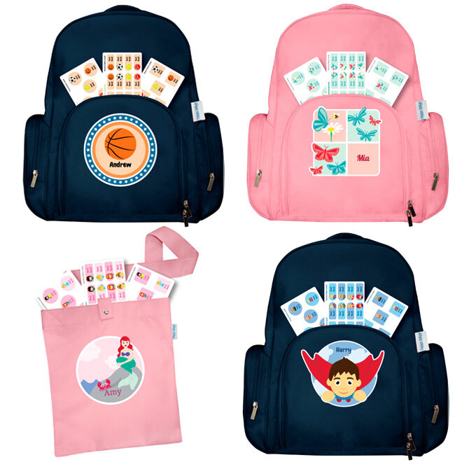 Hippo Blue's new large personalised backpacks and library bags