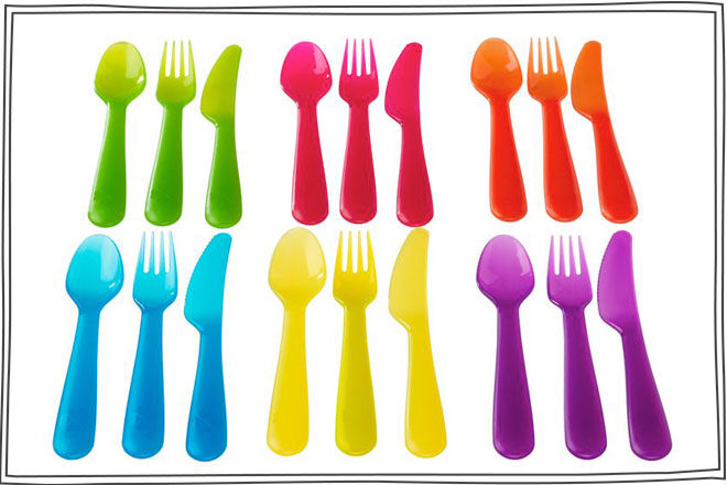 IKEA KALAS 18-piece cutlery set, assorted colours