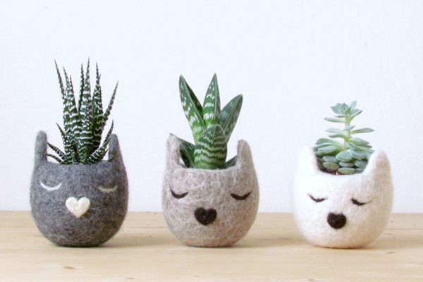 Kitty Cat Felt Vase