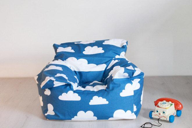 Kids beanbag chair cloud print mini sofa for Toddler mini chair