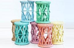 Cane pastel coloured bed side tables for kids