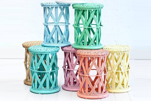 Cane pastel coloured bed side tables for kids