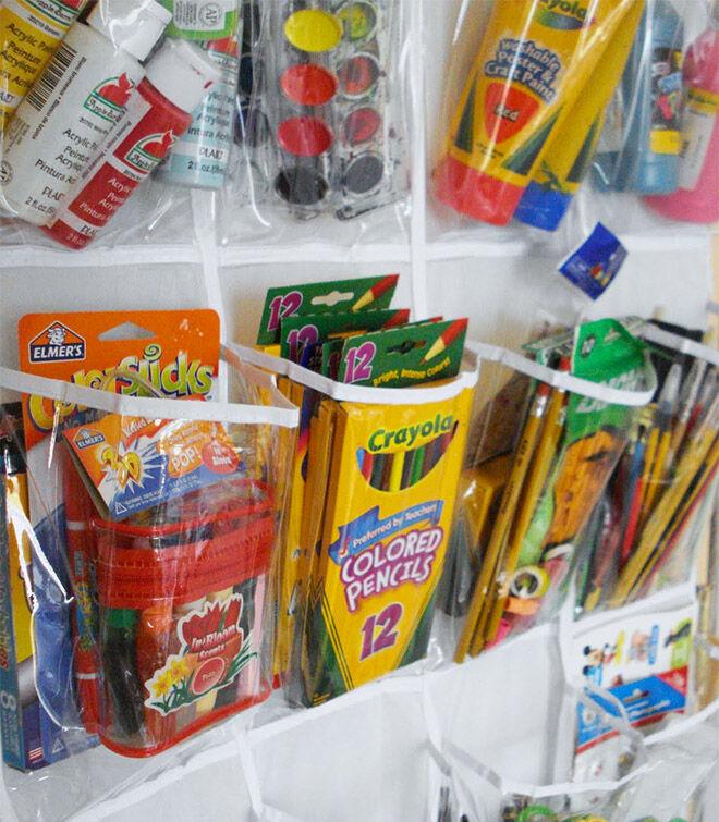Over the door storage idea for kids craft supplies