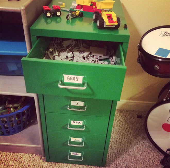 Slim green drawers are the perfect storage for lots of little LEGO bricks