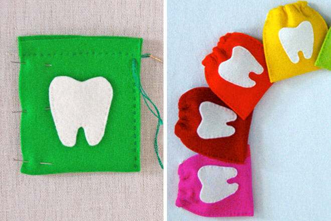 DIY Tooth fairy bags made by The Purl Bee