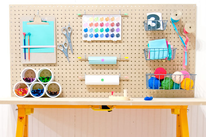 Organised kids craft table