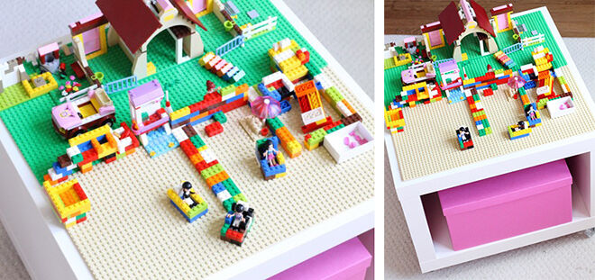 Put coasters on the bottom of the LACK table for a portable LEGO play space