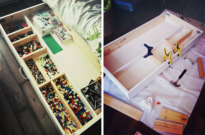 A DIY box under the bed makes a great storage for LEGO and keeps it hidden from guests