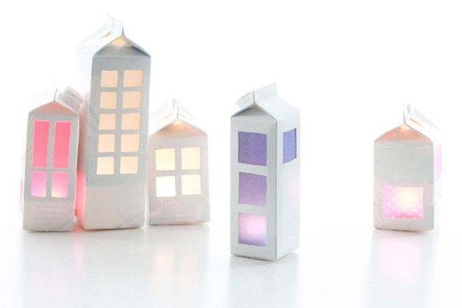 Milk Carton craft with lights