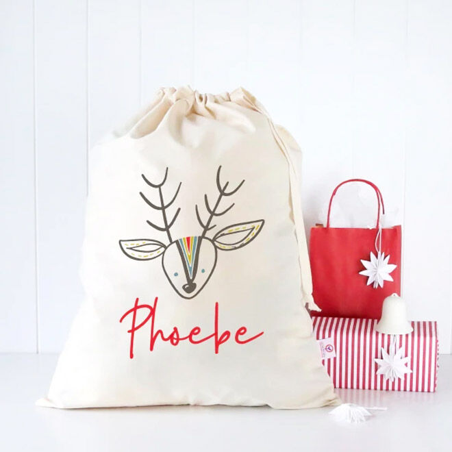 Colour and Spice Reindeer Personalised Santa Sack