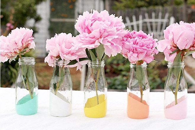 Paint Dipped Milk Bottle Vases