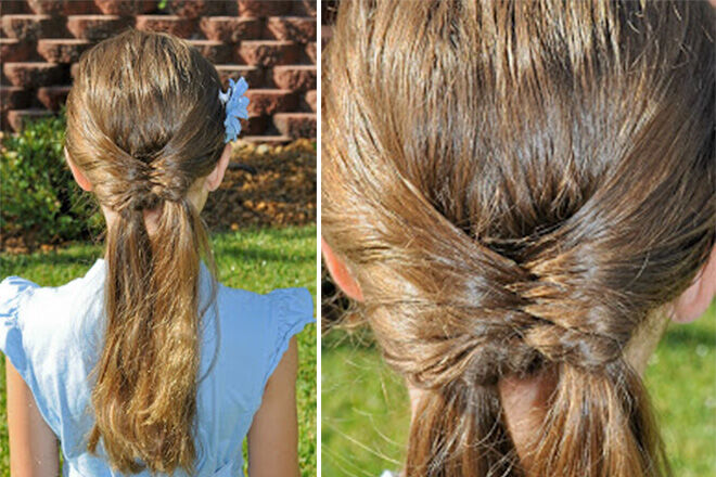 Fishtail piggies hairstyle