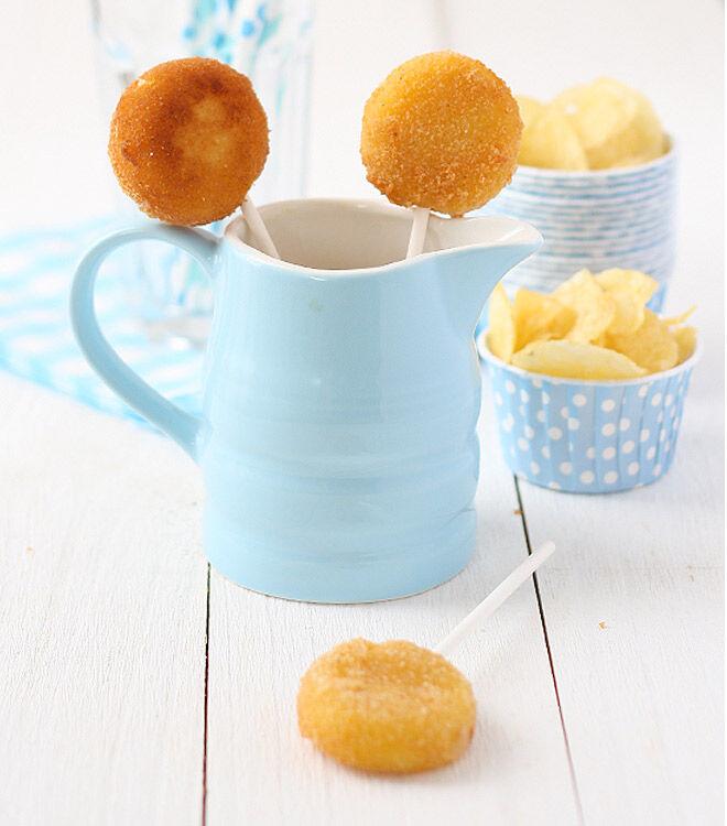 Deep fried babybel cheeses on sticks