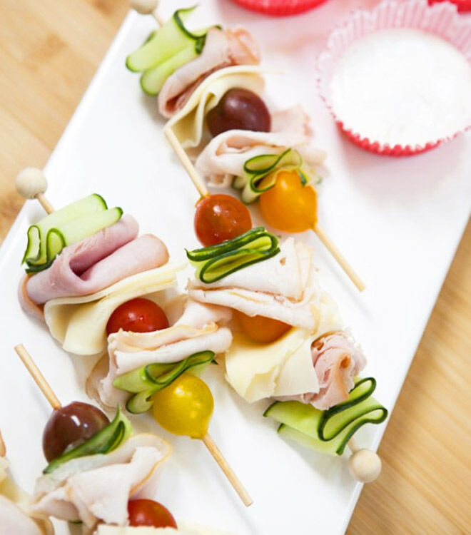 Party turkey and veggie skewers