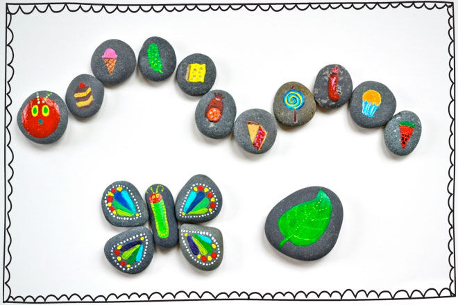 Rock Painting The Hungry Caterpilla