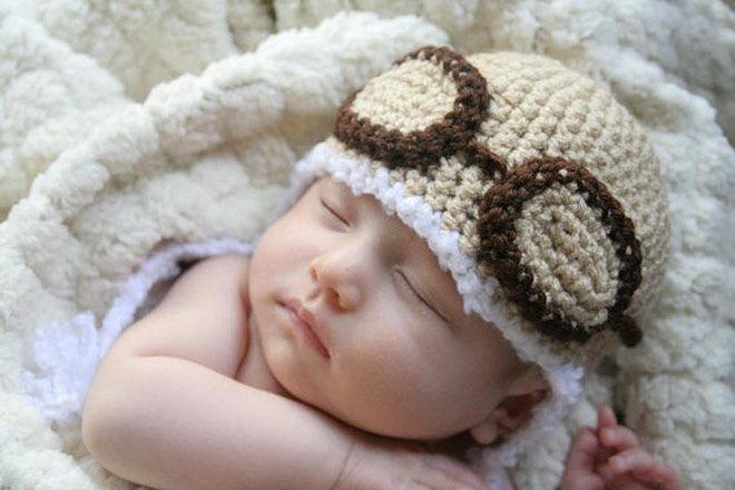 Baby newborn aviator hat