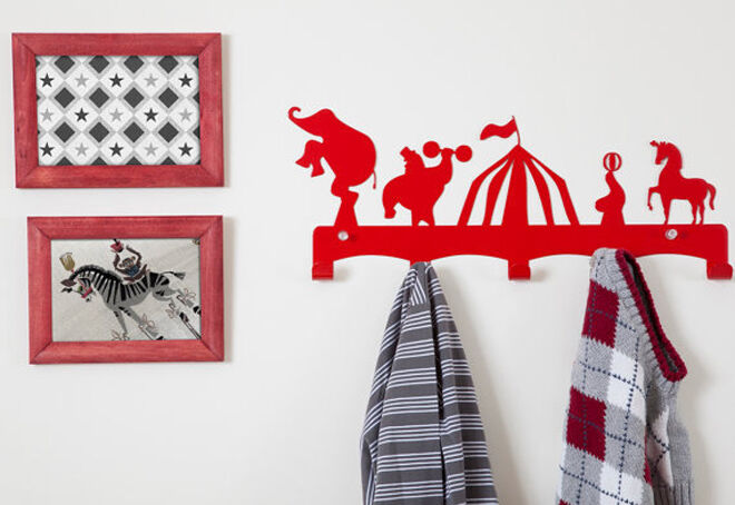 Etsy red circus coat hanger