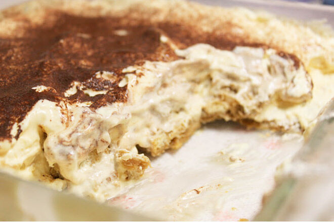 Tasty tiramisu made from left over bread
