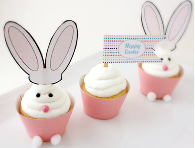 Easter Printables Easter Cupcake Wrappers and Mini Bunny Ears