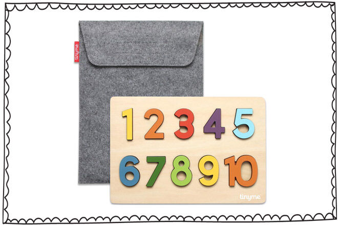 Wooden numbers in felt pouch by Tinyme