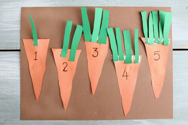 Carrot Counting Game made from paper