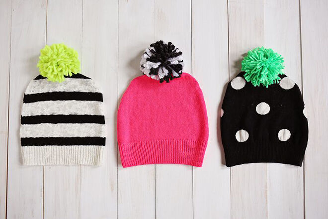 Beanies made out of jumpers. Things to make out of your winter woolies.