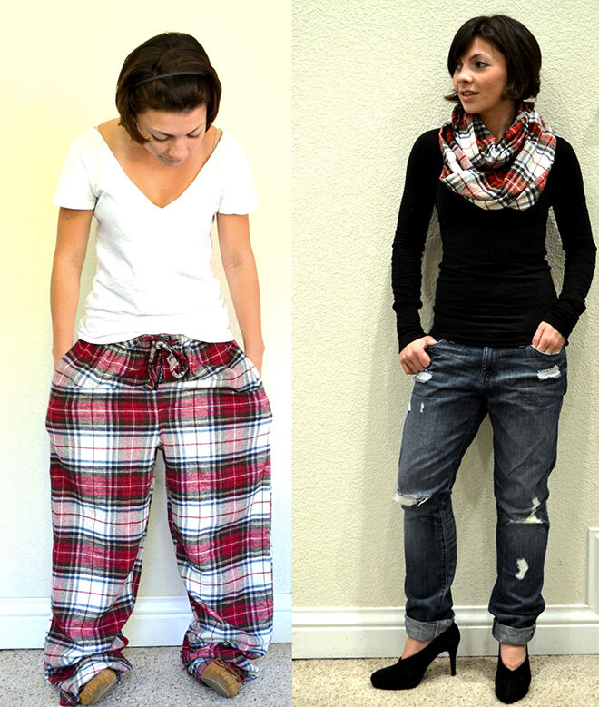 Turn PJ Pants into a scarf. Things to do with your old winter woolies.
