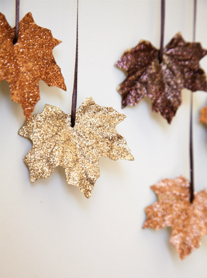 Cover leaves with glitter