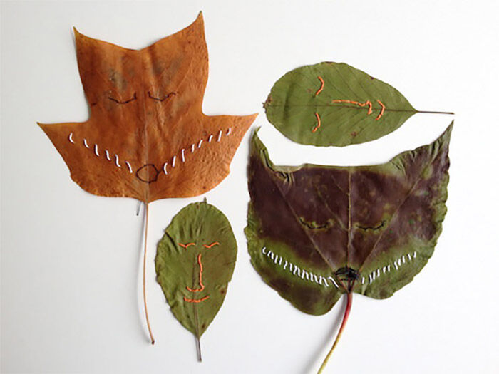 Use string to stitch faces in leaves