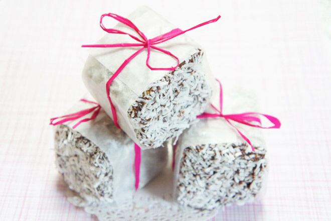 Sweet little lamingtons wrapped up for Mother's Day