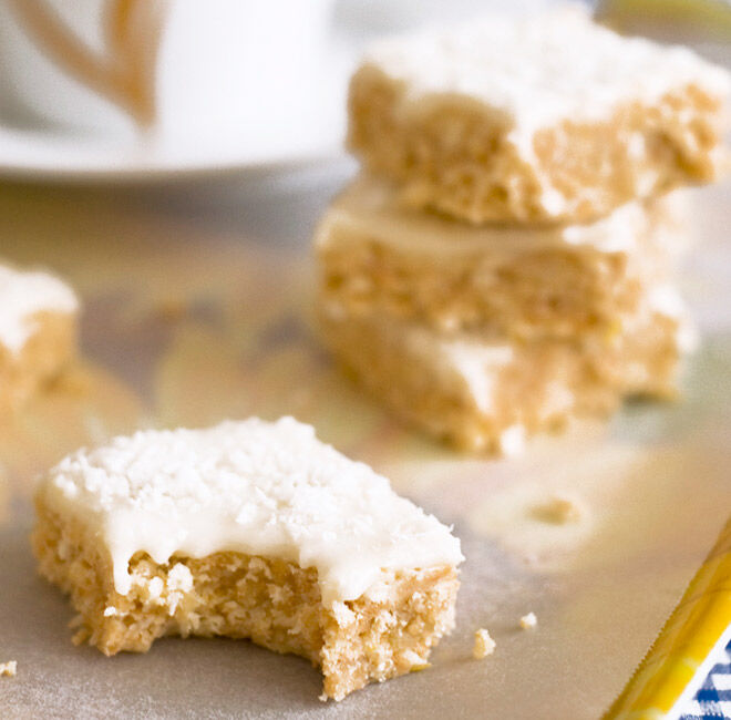 Tangy and tasty lemon coconut slice