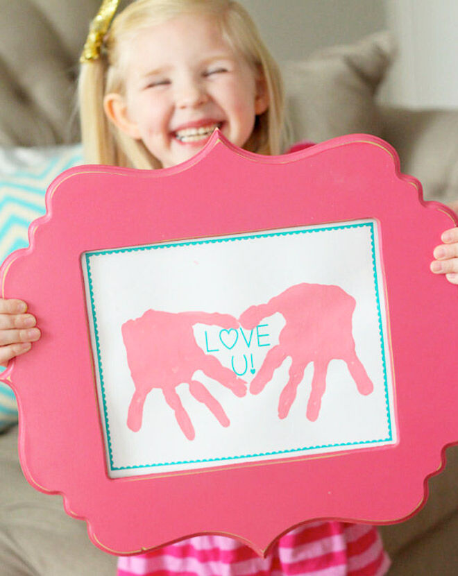 Framed handprints from the kids make a great gift for Mother's Day