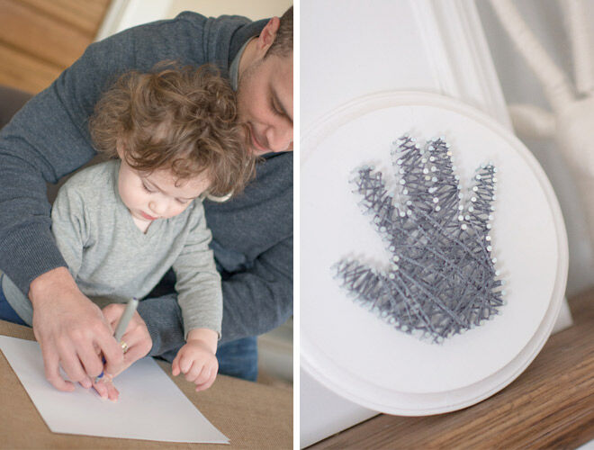 Make a sweet Mother's Day gift out of tiny hands with this cute hand string art tutorial