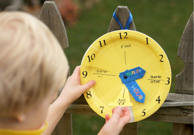 paper plate clock for telling time