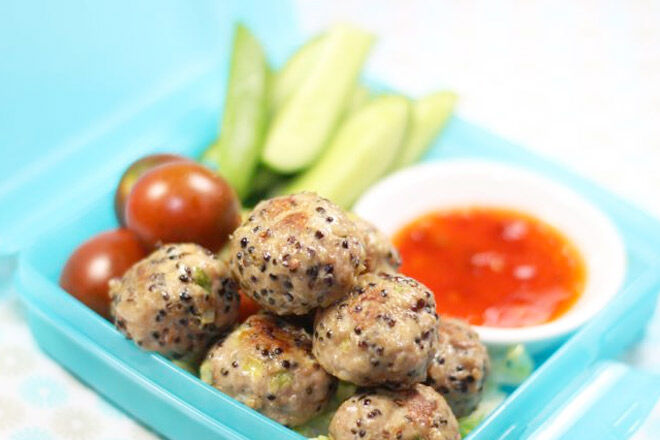 Lunchbox ideas - Pork, ginger and quinoa meatballs.