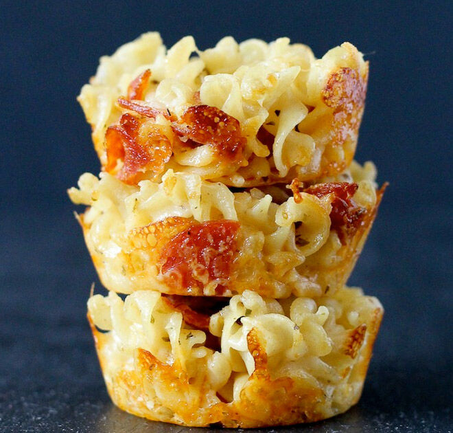 Sandwich-free savoury lunchbox ideas - Mac and Cheese Stack...YUM!