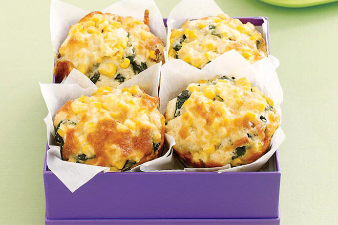 Lunchbox Ideas - Corn, Spinach and Bacon Muffin Recipe