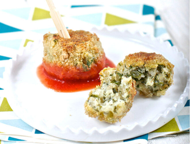Savoury Lunchbox Solutions - kale pesto baked arancini recipe