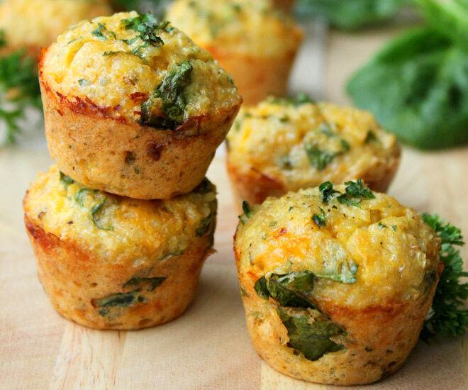 Sandwich-free lunchbox ideas - Quinoa spinach omelette bites