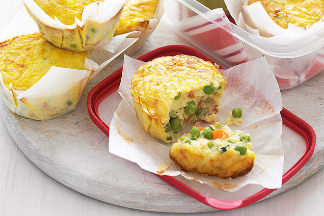 Sandwich-free school lunchbox ideas - Vegetable and bacon frittatas