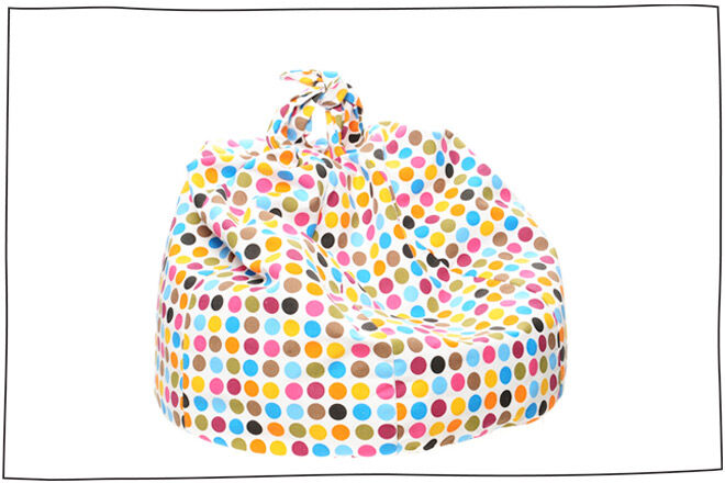 Polka Dot Bean Bag with nifty handle for carrying around