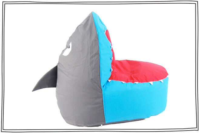 Shark bean bag with handle on fin. Great for kids bedrooms