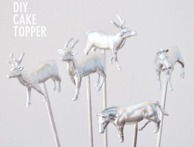 DIY Silver Animal Cake Toppers via Visual Heart