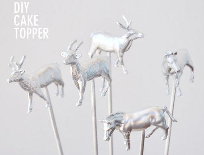 DIY Silver Animal Cake Toppers via Visual Heart