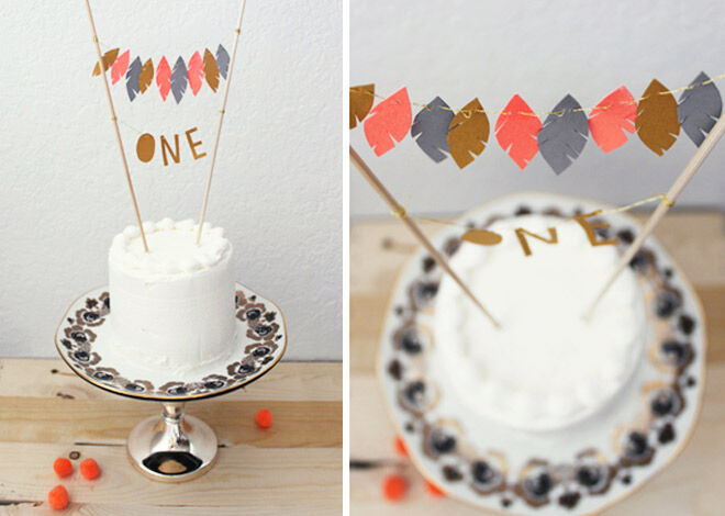 DIY Feather Cake Topper via Kelli Murray